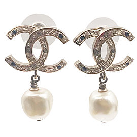Chanel Silver Glass Stimulated Pearl Earrings
