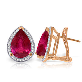 11.02 CTW 14K Solid Rose Gold French Clips Earrings Diamond Ruby