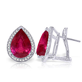 11.02 CTW 14K Solid White Gold French Clips Earrings Diamond Ruby