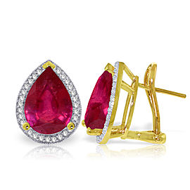 11.02 CTW 14K Solid Gold French Clips Earrings Diamond Ruby