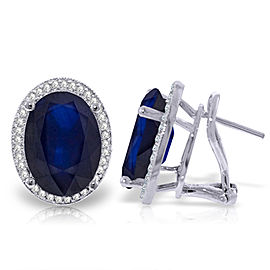 13.16 CTW 14K Solid White Gold French Clips Earrings Diamond Sapphire