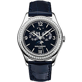 Patek Philippe Complications 5147G-001 Annual Calendar 18k White Gold Diamond Blue Leather Automatic Mens 39mm Watch