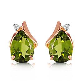 4.26 CTW 14K Solid Rose Gold Stud Earrings Diamond Peridot