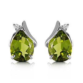 4.26 CTW 14K Solid White Gold Stud Earrings Diamond Peridot
