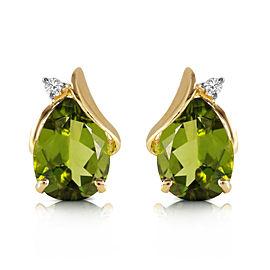 4.26 CTW 14K Solid Gold Stud Earrings Diamond Peridot