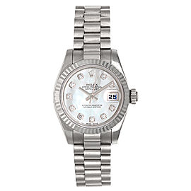 Rolex President 179179 18K White Gold Mother-Of-Pearl Dial 26mm Womens Watch