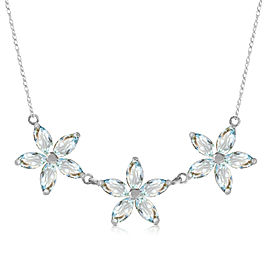 4.2 CTW 14K Solid White Gold Necklace Natural Aquamarine