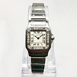 CARTIER SANTOS GALBEE Quartz 24mm Steel Watch DIAMOND Bezel