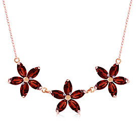 4.2 CTW 14K Solid Rose Gold Necklace Natural Garnet