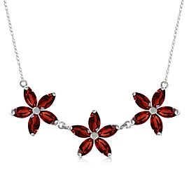 4.2 CTW 14K Solid White Gold Necklace Natural Garnet