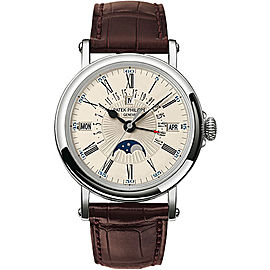 Patek Philippe 5159g 18K White Gold & Leather 38mm Mens Watch