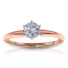 14K Solid Rose Gold Solitaire Ring with0.35 CTW H-i, Si-2 Natural Diamond