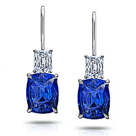 Platinum 6.80ctw. Sapphire 1.06ctw. Diamond Earrings