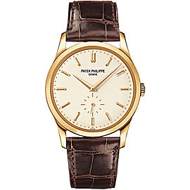 Patek Philippe Calatrava 5196J-001 18K Yellow Gold / Leather Opaline White Dial 37mm Mens Watch