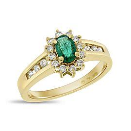10K Yellow Gold Diamond & 0.85ct Emerald Halo Fancy Ring