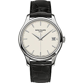 Patek Philippe Calatrava 5227G-001 Ivory Dial Leather Mens 39mm Watch