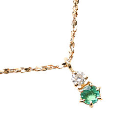 18k yellow gold/diamond/Emerald Necklace