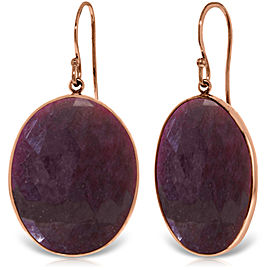14K Solid Rose Gold Fish Hook Earrings with Checkerboard Cut Dyed Ruby
