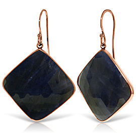 14K Solid Rose Gold Fish Hook Earrings with Checkerboard Cut Sapphires