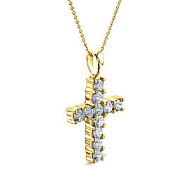 1-1/5ct.tw Diamond Cross Pendant Necklace 14k Gold - yellow-gold