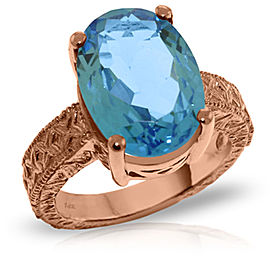 14K Solid Rose Gold Ring with Natural Oval Blue Topaz