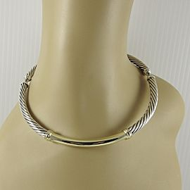 David Yurman Sterling Silver 14K Yellow Gold 7mm Gold Bar Metro Necklace