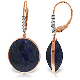 14K Solid Rose Gold Diamonds Leverback Earrings with Checkerboard Cut Round Dyed Sapphires