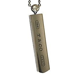 Tiffany & Co. 18K White Gold and Diamond Bar Pendant Necklace
