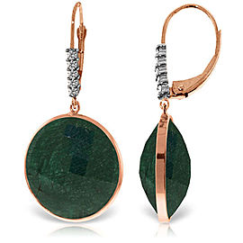 14K Solid Rose Gold Diamonds Leverback Earrings with Round Emerald Color Corundum