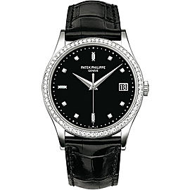 Patek Philippe Calatrava 5297G 18K White Gold / Leather Matt Black Dial Automatic 38mm Mens Watch