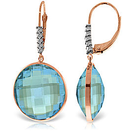 14K Solid Rose Gold Diamonds Leverback Earrings with Checkerboard Cut Round Blue Topaz