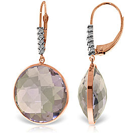 14K Solid Rose Gold Diamonds Leverback Earrings with Checkerboard Cut Round Amethysts