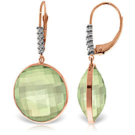 14K Solid Rose Gold Diamonds Leverback Earrings with Checkerboard Cut Round Green Amethysts