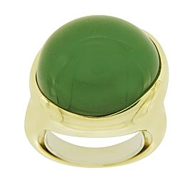 Tiffany & Co. Elsa Peretti 18K Yellow Gold with Cabochon Jade Ring Size 6