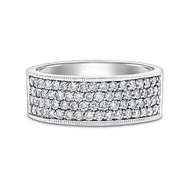 14k White Gold 1.00 Ct. Natural Diamonds Wide Anniversary Band Size 11