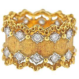 Buccellati Diamond Gold Wide Band Ring