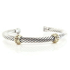 David Yurman Sterling Silver 14K Yellow Gold 5mm 2-Beaded Station Bracelet