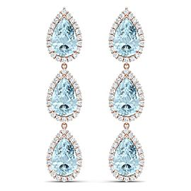 18K Rose Gold with 24.18ct. Topaz and 3.12ct. Diamond Earrings
