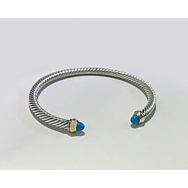 David Yurman Cable Classic Collection Bracelet with Turquoise and 18k Yellow