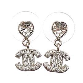Chanel Silver Heart Crystal CC Dangle Piercing Earrings