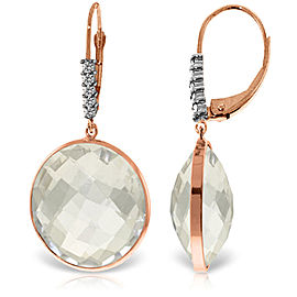 14K Solid Rose Gold Diamonds Leverback Earrings with Checkerboard Cut Round White Topaz