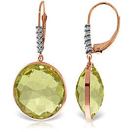 14K Solid Rose Gold Diamonds Leverback Earrings with Checkerboard Cut Lemon Quartz