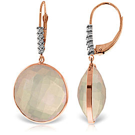 14K Solid Rose Gold Diamonds Leverback Earrings with Checkerboard Cut Rose Quartz