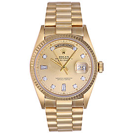 Rolex President Day-Date 18038 18k Yellow Gold Diamond 36mm Mens Watch
