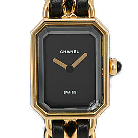 CHANEL Gold plated//Leather Premiere Watch