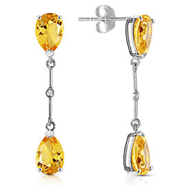 14K Solid White Gold Diamonds & Citrines Dangling Earrings