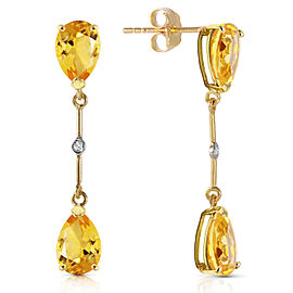14K Solid Gold Diamonds & Citrines Dangling Earrings