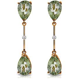 14K Solid Rose Gold Diamonds & Green Amethysts Dangling Earrings