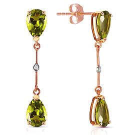 14K Solid Rose Gold Diamonds & Peridots Dangling Earrings