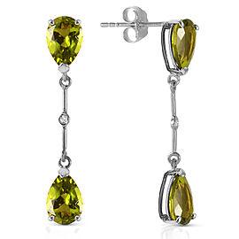 14K Solid White Gold Diamonds & Peridots Dangling Earrings